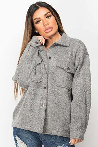 Mad Girls Gri Over Size Yün Gömlek Ceket Mg1199