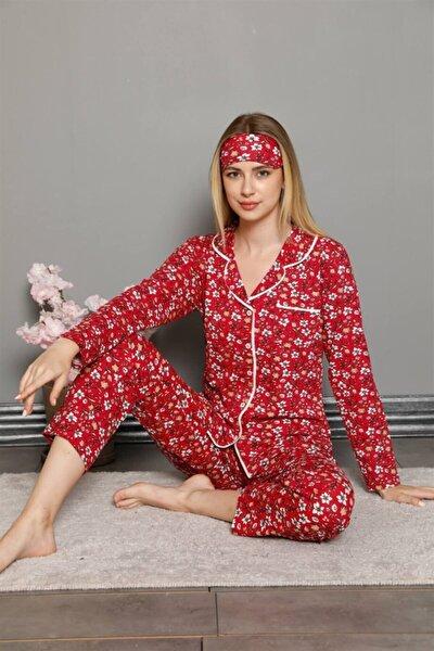 Moda Çizgi Kadın 100 Pamuk Önden Düğmeli Uzun Kol Pijama Takım 2756