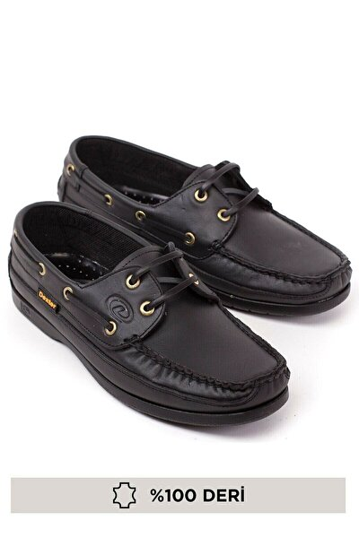 Erkek Siyah Bağcıklı Hakiki Deri Günlük Ortopedik Loafer Ayakkabı