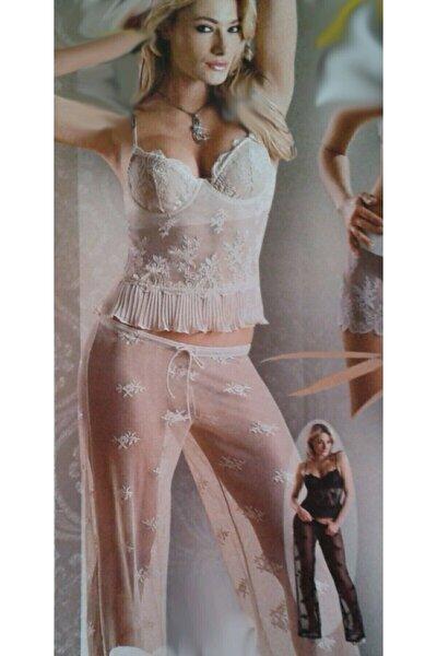 Beyaz Transparan Dantel Iç Giyim Gecelik Alt Üst Takım