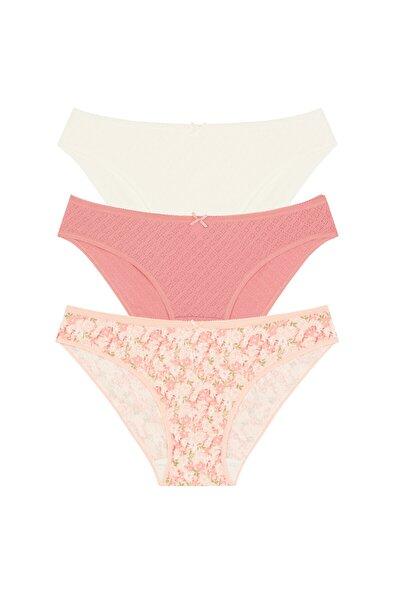 Çok Renkli Soft Pointel Floral 3lü Slip Külot
