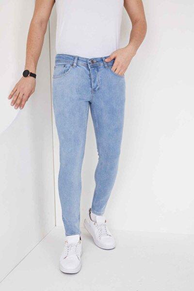 Erkek Açık Mavi Düz Skinny Fit Dar Paça Normal Bel Jean