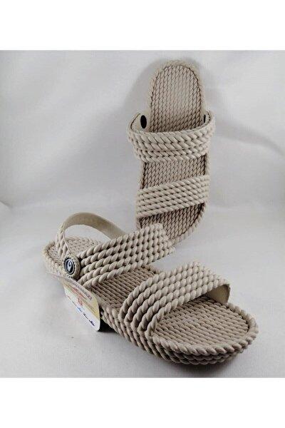 Kadın  Bej Kaydırmaz Taban Hasır  Masajlı Sandalet Terlik
