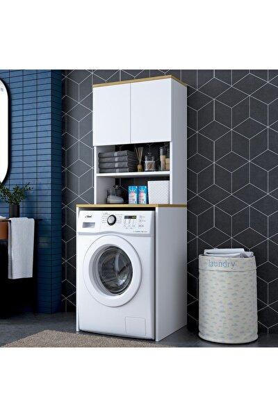 Rani Kd101 Çamaşır Makinesi Dolabı 3 Raflı Kapaklı Banyo Dolabı Beyaz Keçe Ceviz