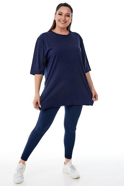 Kadın Büyük Beden Lacivert Yırtmaçlı Basic T-shirt
