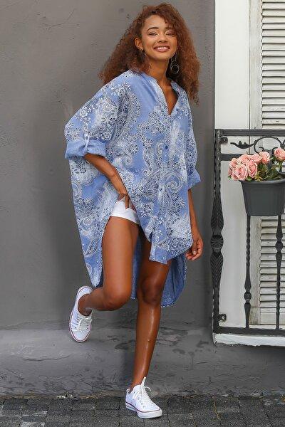 Kadın Mavi Italyan Şal Desenli Düğmeli Oversize Gömlek Elbise M10160000el94563