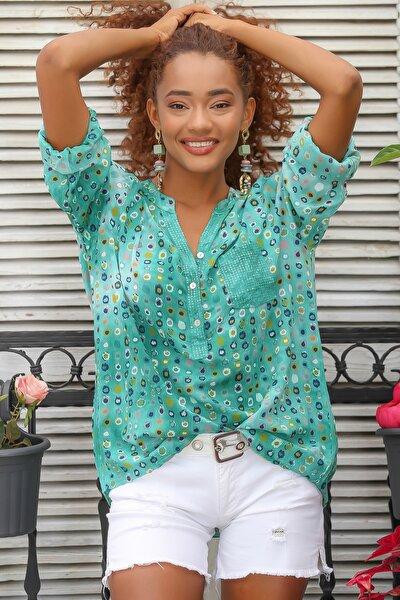 Kadın Yeşil Italyan Puan Desen Patı Ve Cebi Pul Dokuma Uzun Kol Ayar Düğmeli Bluz M10010200bl95053