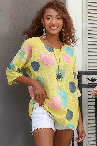 Kadın Sarı Italyan Dev Puan Desenli Sıfır Yaka 3/4 Kol Oversize Dokuma Bluz M10010200bl95031