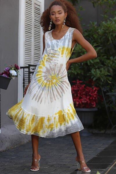 Kadın Sarı Italyan Kolsuz Pullu Batik Desenli Etek Ucu Dokuma Fırfırlı Elbise M10160000el94514