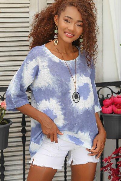 Kadın Mavi Italyan Sıfır Yaka Batik Desenli 3/4 Kol Oversize Dokuma Bluz M10010200bl95048