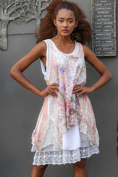 Kadın Beyaz-pembe Italyan Kelebek Baskılı Dantelli Ikili Oversize Kolsuz Elbise M10160000el94552