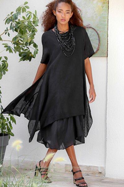 Kadın Siyah Italyan Ikili Asimetrik Oversize Dokuma Elbise M10160000el94538