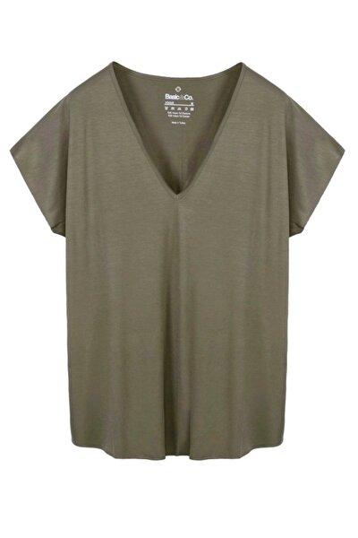 Vogue Yeşil V Yaka Basic T-shirt