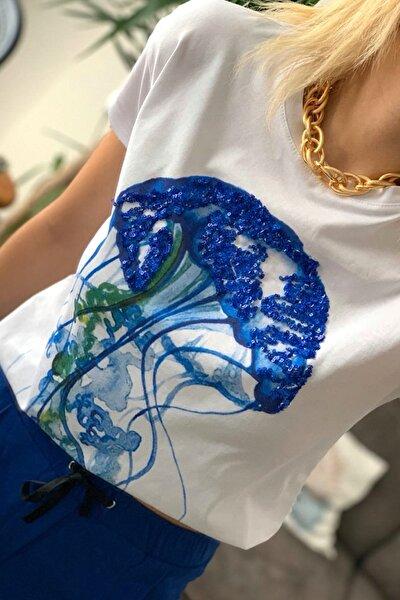 Kadın Beyaz Pul Payet Deniz Anası Nakışlı Pamuk T-shirt