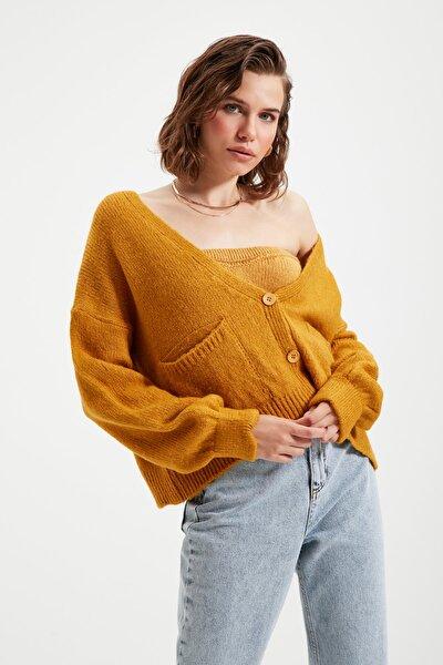 Sarı Bluz Hırka Triko İkili Takım TWOAW22HI0162