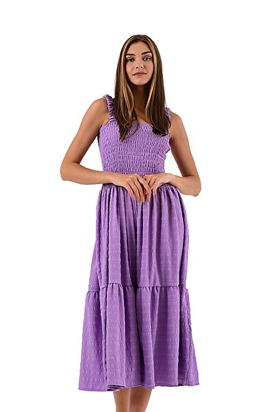 Lila Askılı Maxi Elbise