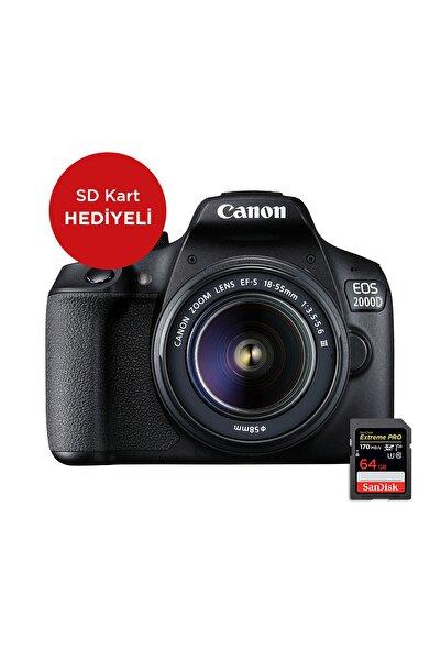 EOS 2000D DC Kit Fotoğraf Makinesi (SD Kart Hediyeli) (Canon Eurasia Garantili)