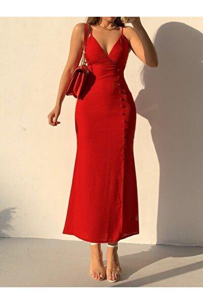 Kırmızı Askılı Önü Düğme Detaylı Uzun Elbise