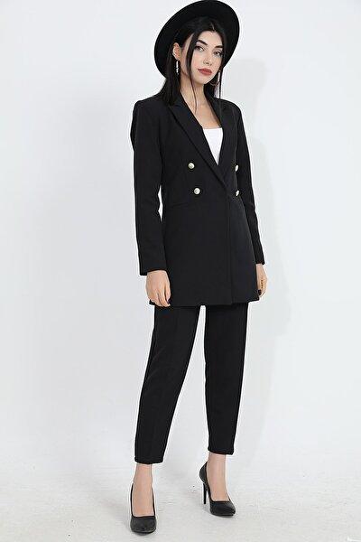 Kadın Siyah Omuzları Vatkalı Önü Çıtçıtlı Atlas Kumaş Blazer Ceket