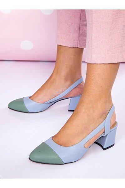 Topuklu Ayakkabı Mavi Mint Yeşili