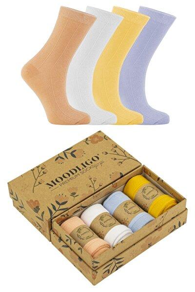Premium 4'lü Kadın Çizgi Desenli Bambu Soket Çorap