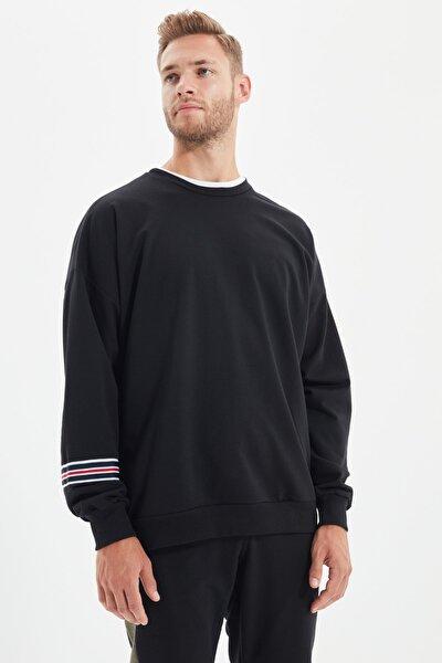 Siyah Erkek Fermuar Detaylı Oversize Sweatshirt TMNAW21SW0796