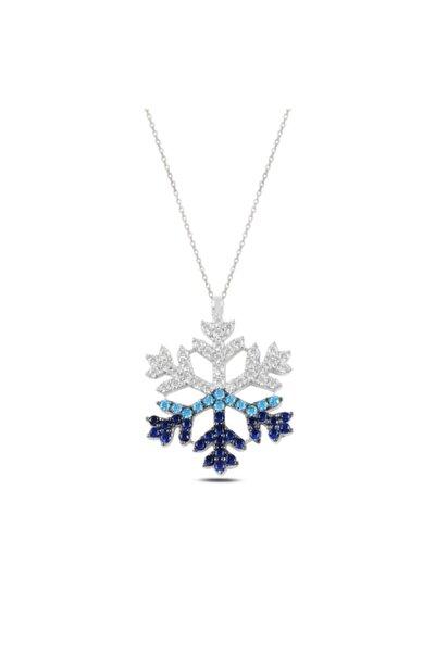 Gümüş Renk Geçişli Kar Tanesi Kolye