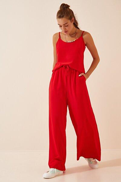 Kadın Kırmızı Yazlık Atlet Palazzo Pantolon Takım FN02830