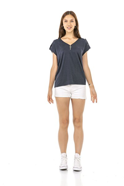 Kadın Kısa Kollu Lacivert Renk Omuz Detaylı V Yaka T-shirt