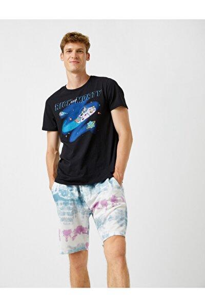 Erkek Siyah Rick And Morty T-Shirt Lisansli Baskılı