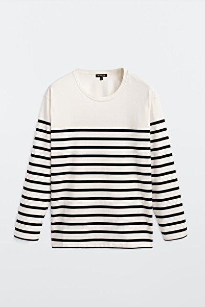 Kadın Çizgili %100 Pamuklu T-Shirt 06833538
