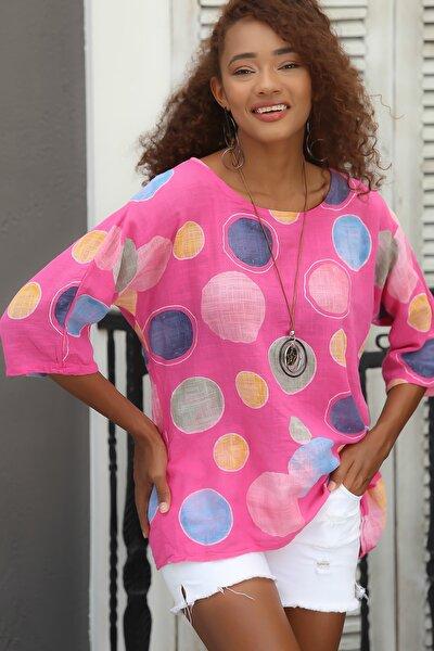Kadın Pembe Italyan Dev Puan Desenli Sıfır Yaka 3/4 Kol Oversize Dokuma Bluz M10010200bl95031