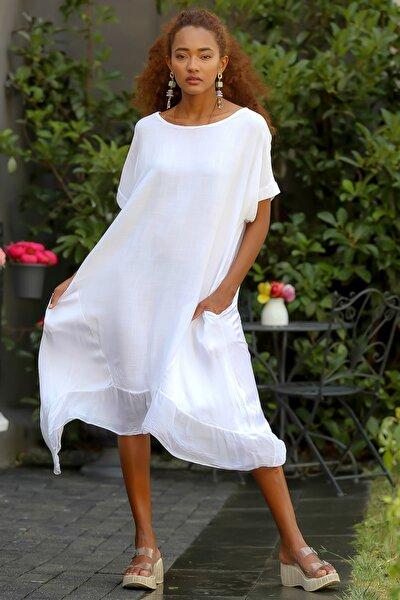Kadın Beyaz Italyan Cepli Asimetrik Saten Bloklu Oversize Dokuma Elbise M10160000el94531