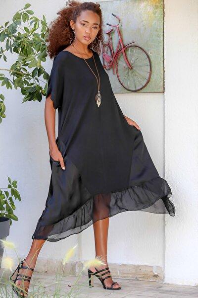 Kadın Siyah Italyan Cepli Asimetrik Saten Bloklu Oversize Dokuma Elbise M10160000el94531