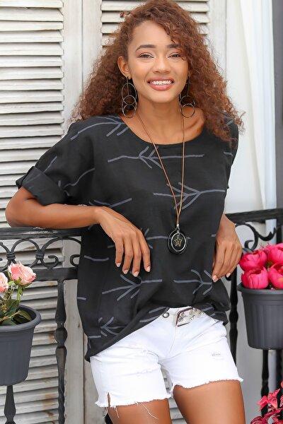 Kadın Siyah Italyan Ok Desenli Sıfır Yaka 3/4 Kol Dokuma Oversize Bluz M10010200bl95044