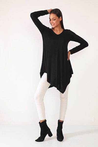 Kadın Siyah Eteği Asimetrik Tunik
