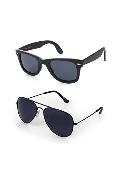 İkili Uv 400 Cam Siyah Unisex Güneş Gözlüğü