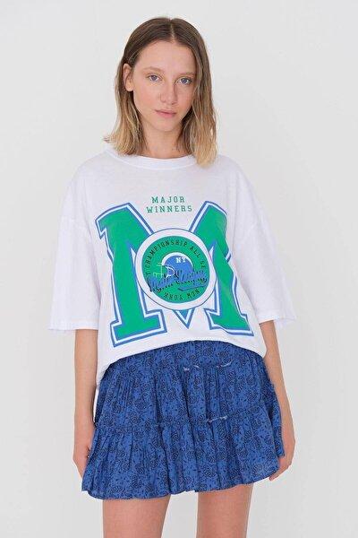 Baskılı Oversize T-shirt P9596 - D9