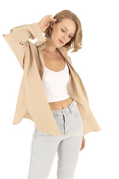 Krem Oversize Uzun Basic Gömlek