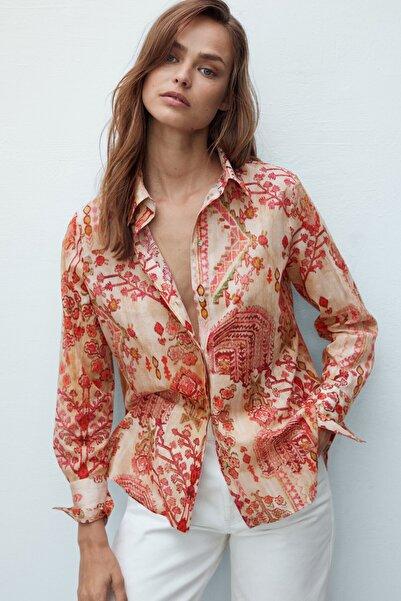 Kadın %100 Pamuklu Desenli Gömlek 05109871