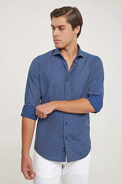 Slim Fit Lacivert Baskılı Gömlek