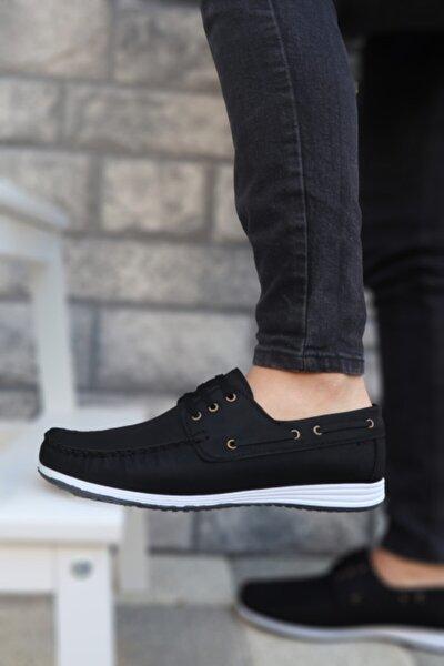 Erkek Siyah Beyaz Klasik Casual Loafer Ayakkabı