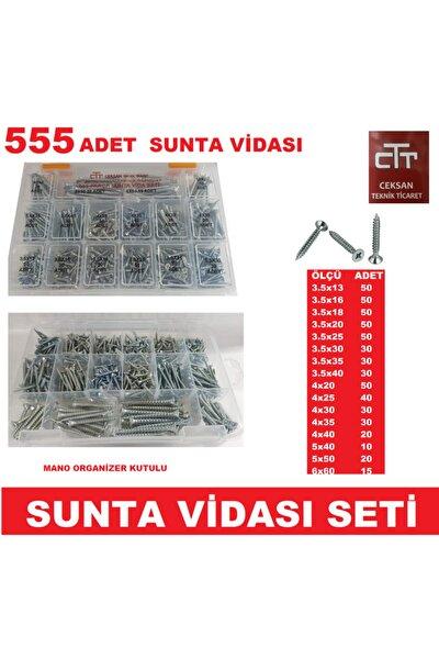 Sunta Vidası Seti 555 Parça Ahşap-plastik-dübel V.b Vida Seti - Organizer Kutulu
