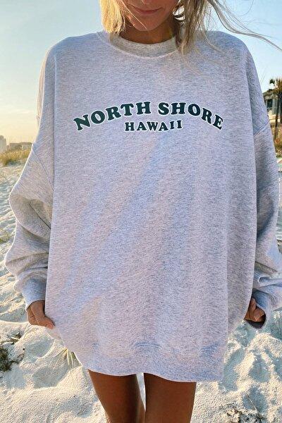 Kadın Gri North Shore Baskılı Oversize Sweatshirt