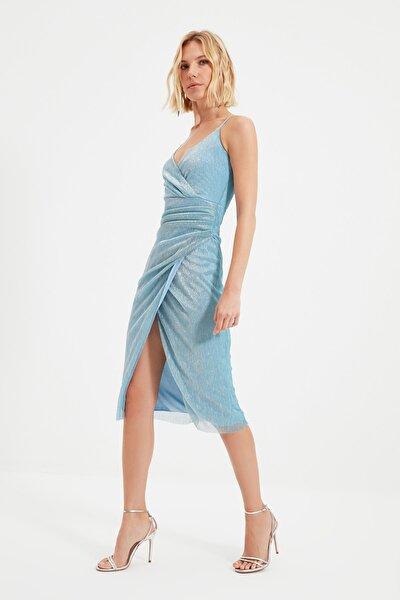Mavi Işıltılı Kruvaze Elbise TPRSS19FZ0476