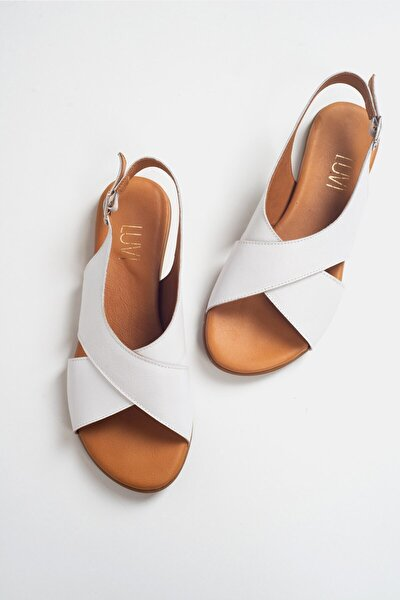 337 Beyaz Cilt Kadın Sandalet