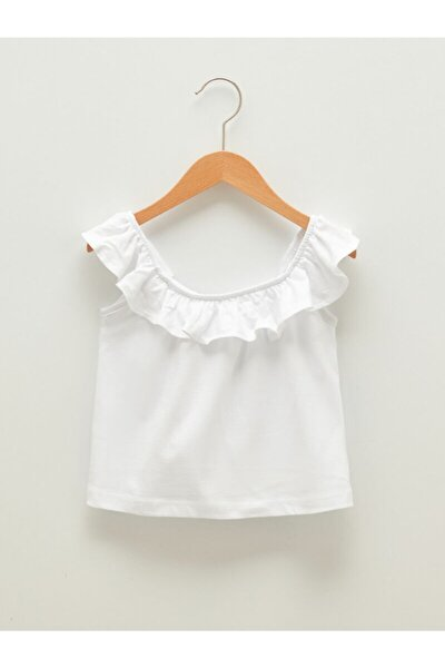 Kayık Yaka Fırfır Detaylı Kız Çocuk Tişört