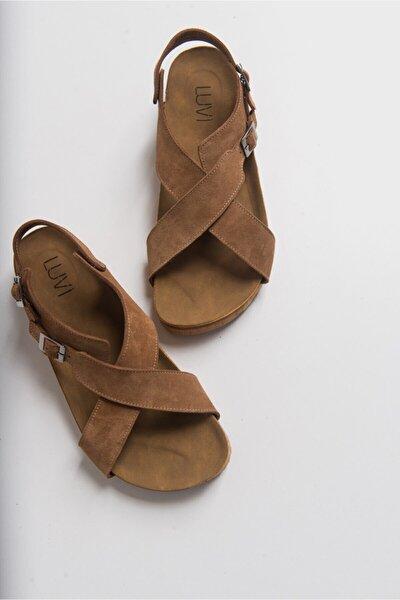 201 Hakiki Deri Camel Süet Kadın Sandalet