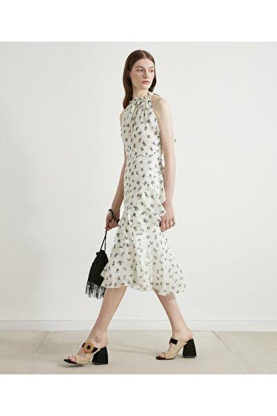 Çiçek Baskılı Midi Elbise