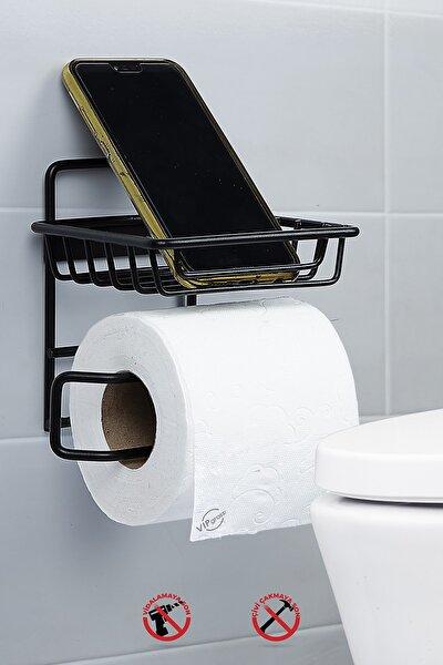 Mat Siyah Yedekli Tuvalet Kağıtlık Vs714